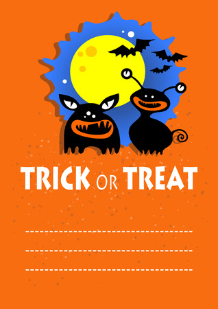 ominous: Two monsters. Halloween greeting card, poster, flyer, banner, invitation.