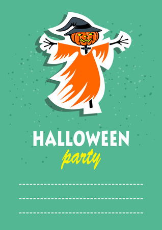 Cartoon scarecrow. Halloween greeting card, poster, flyer, banner, invitation. Illustration