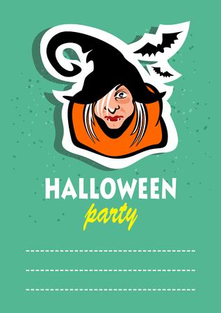 hag: Cartoon old hag. Halloween greeting card, poster, flyer, banner, invitation. Illustration
