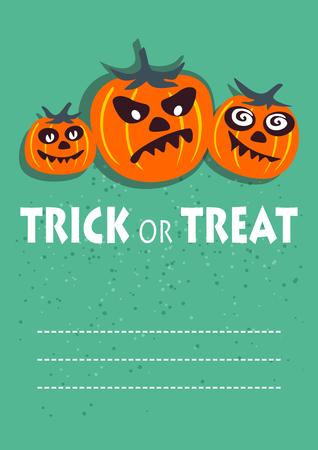 Three pumpkins. Halloween greeting card, poster, flyer, banner, invitation.