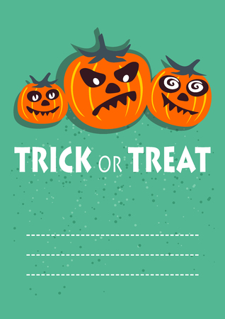 frighten: Three pumpkins. Halloween greeting card, poster, flyer, banner, invitation.