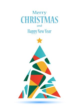 red ball: Abstract polygonal Christmas tree vector illustration isolated on white background made of colorful triangles. Seasonal greeting card design.