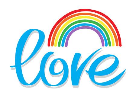 A mano las letras dibujadas con el arco iris aislados sobre fondo blanco. símbolo de amor homosexual.