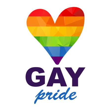 Polygonal gay rainbow heart with inscription isolated on white background. Gay love symbol. Gay pride.  イラスト・ベクター素材