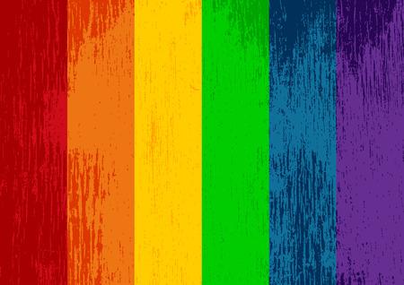 Heldere gestreept regenboog gay trots vlag. LGBT community symbool. Grungy design stijl. Vector Illustratie