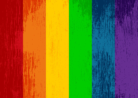 Bright striped rainbow gay pride flag. LGBT community symbol. Grungy design style. Illustration