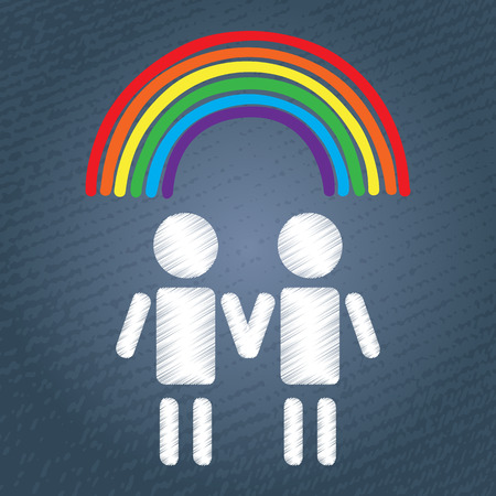 transgender: Happy gay couple with rainbow. LGBT couple or LGBT family symbol. White people silhouettes on blue grunge background.