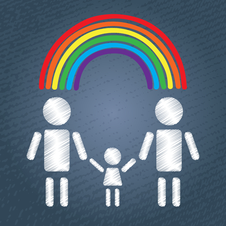 nontraditional: Happy gay family with child and rainbow. LGBT couple symbol. White people silhouettes on blue grunge background.