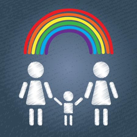 simbolo de la mujer: Familia feliz mujeres homosexuales con el niño y el arco iris. símbolo de pareja LGBT. La gente blanca siluetas sobre fondo azul grunge. Vectores