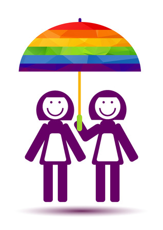 rainbow umbrella: Lesbians couple and umbrella isolated on white background. Gay love symbol. LGBT pride symbol. Design element for flyer or banner.
