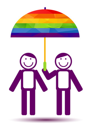 rainbow umbrella: Gays couple with umbrella isolated on white background. Gay love symbol. LGBT pride symbol. Design element for flyer or banner.