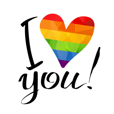 Gay rainbow heart and ink hand drawn letters isolated on white background. Gay love symbol. LGBT love symbol. I love you inscription. Illustration