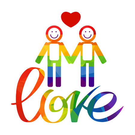 gay men: Gay couple and rainbow hand drawn letters isolated on white background. Gay love symbol. LGBT pride symbol.