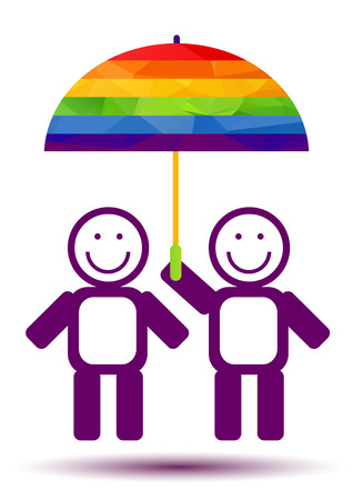 gay men: Gays couple with umbrella isolated on white background. Gay love symbol. LGBT pride symbol. Design element for flyers or banners. Illustration