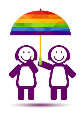 Lesbians couple with umbrella isolated on white background. Gay love symbol. LGBT pride symbol. Design element for flyer or banner.
