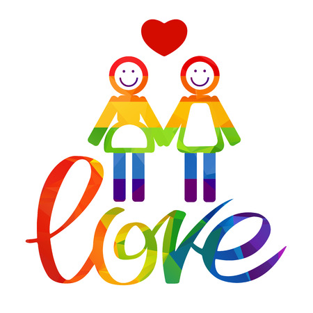 gay couple: Lesbian couple with rainbow hand drawn letters isolated on white background. Gay love symbol. LGBT pride symbol.