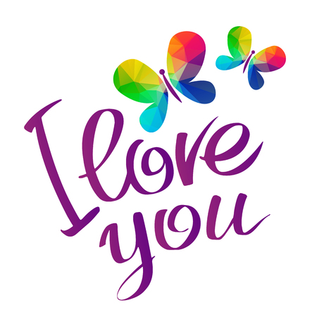 Rainbow butterflies with I love you inscription. Gay pride symbol. LGBT pride symbol. Calligraphic design element for flyer or banner.