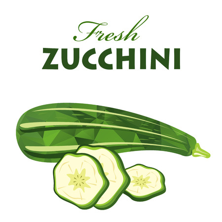 diet food: Polygonal fresh zucchini isolated on white background. Organic food vector. Vegetarian dish. Diet food. Illustration