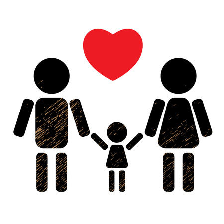 black family: Couple with kid black silhouette isolated on white background. Happy family symbol. Family icon. Design element for flyers or banners.