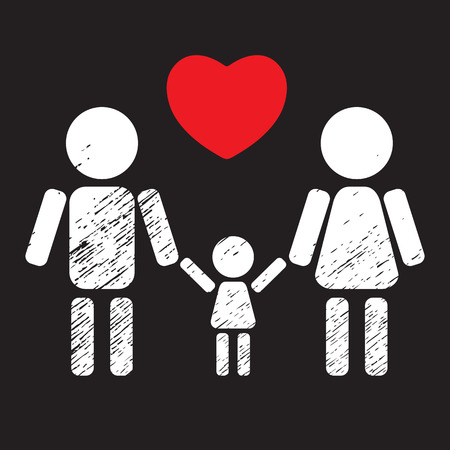 black family: Couple with kid white silhouette isolated on black background. Happy family symbol. Family icon. Design element for flyers or banners.