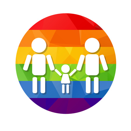 nontraditional: Gay couple with kid  and rainbow frame isolated on white background. LGBT family symbol. Gay family with child. Design element for flyers or banners.
