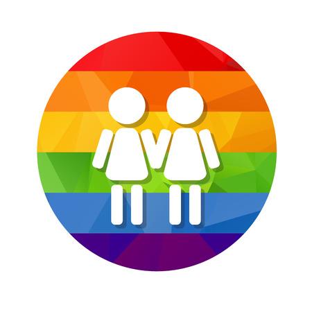 simbolo de la mujer: Gay mujeres pareja y el marco de arco iris anillo aislado en el fondo blanco. símbolo de pareja LGBT. elemento de diseño de volantes o pancartas.