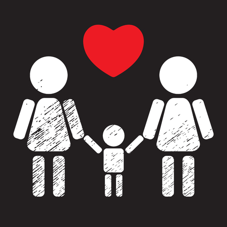 black family: Lesbian couple with child isolated on black background. LGBT family symbol. Gay family symbol. Design element for flyers or banners.