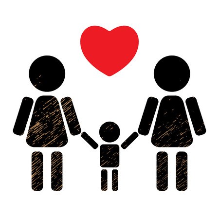 black family: Lesbian couple with kid isolated on black background. LGBT family symbol. Gay family symbol. Design element for flyers or banners.