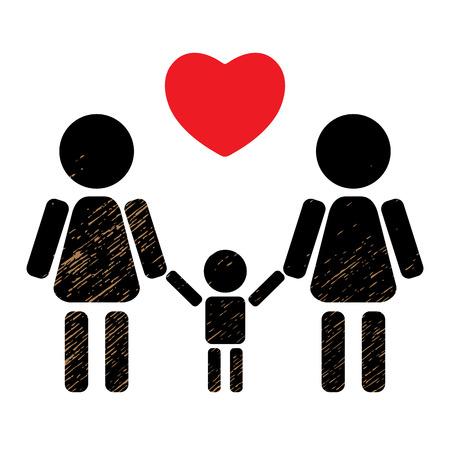 tolerancia: pareja de lesbianas con el cabrito aislado sobre fondo negro. símbolo de la familia LGBT. símbolo de la familia Gay. elemento de diseño de volantes o pancartas. Vectores