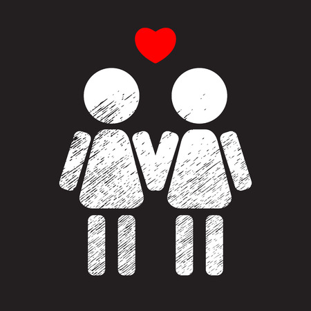 Gay women couple white silhouette isolated on black background. LGBT couple symbol. Design element for flyers or banners.