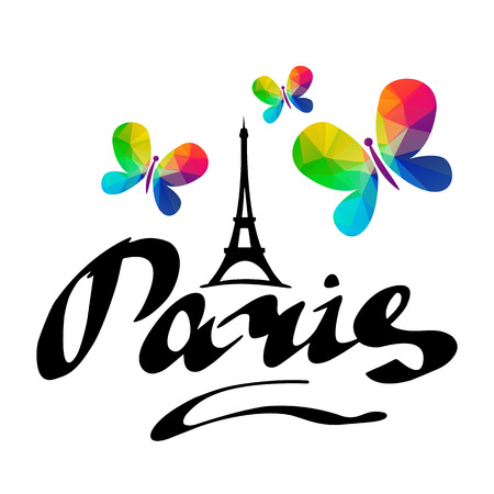Paris hand drawn vector lettering and Eiffer Tower with butterflies. Modern calligraphy brush lettering. Paris ink lettering. Design element for cards, banners, flyers, Paris lettering isolated on white background. Illustration