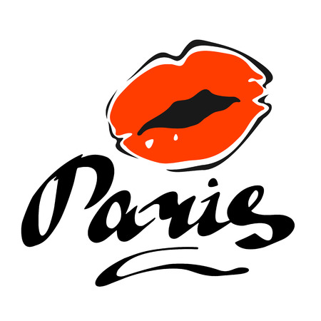 red lips: Paris hand drawn vector lettering and red lips. Modern calligraphy brush lettering. Paris ink lettering. Design element for cards, banners, flyers, Paris lettering isolated on white background.