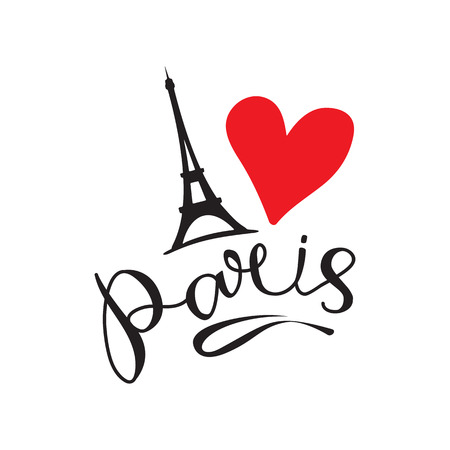 Paris hand drawn vector lettering and Eiffer Tower. Modern calligraphy brush lettering. Paris ink lettering. Design element for cards, banners, flyers, Paris lettering isolated on white background.