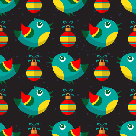 christmas symbol: Winter birds and Christmas balls on black background. Background for greeting cards and flyers. Christmas symbol. Christmas seamless pattern. Flat design.
