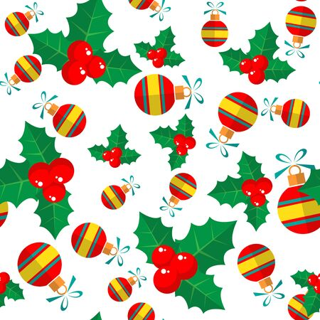 christmas symbol: Holly and Christmas balls isolated on white background. Background for greeting cards and flyers. Christmas symbol. Christmas seamless pattern. Flat design.
