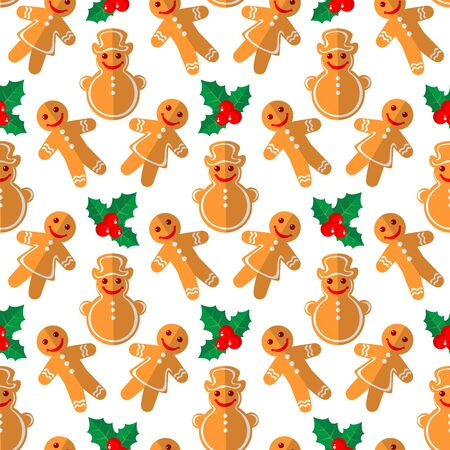 christmas cookie: Cartoon gingerbread cookies and holly isolated on white background. Christmas characters. Seamless pattern. Background for textile or banners.