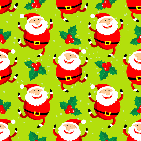 red happiness: Cartoon happy Santa Claus vector on green background. Textile print or design element for banners. Christmas character. Christmas seamless pattern.