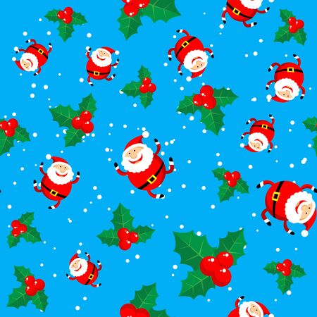christmas element: Cartoon happy Santa Claus vector on green background. Textile print or design element for banners. Christmas character. Christmas seamless pattern.
