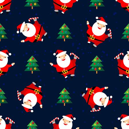 christmas element: Cartoon happy Santa Claus with Christmas tree on dark blue background. Textile print or design element for banners. Christmas character. Christmas seamless pattern.