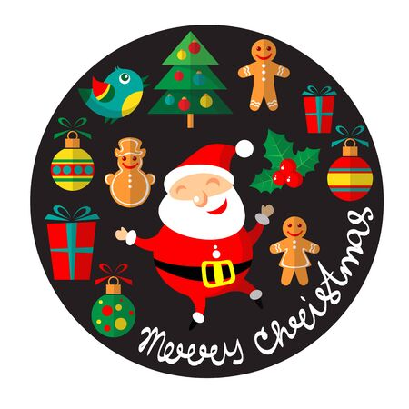 Cartoon happy Santa Claus vector and Christmas symbols isolated on black background. Design elements for greeting cards and flyers. Illustration
