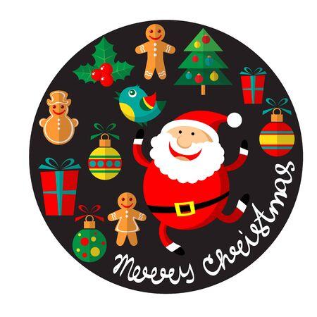 Karikatur glücklicher Santa Claus-Vektor und Weihnachtssymbole lokalisiert auf schwarzem Hintergrund. Design-Elemente für Grußkarten und Flyer.