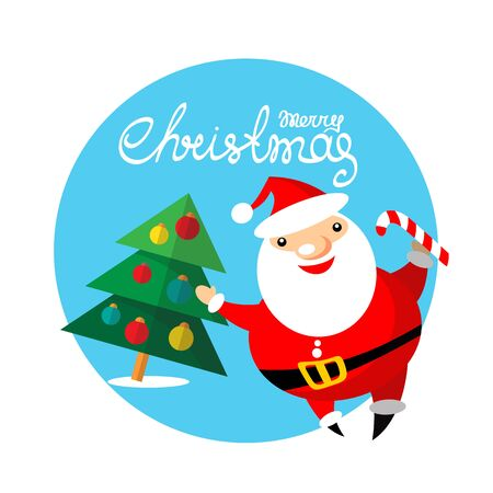 christmas element: Cartoon happy Santa Claus with Christmas tree isolated on blue background. Design element for greeting cards and flyers. Christmas character. Merry Christmas lettering. Illustration