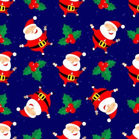 christmas element: Cartoon happy Santa Claus vector on blue background. Textile print or design element for banners. Christmas character. Christmas seamless pattern. Illustration