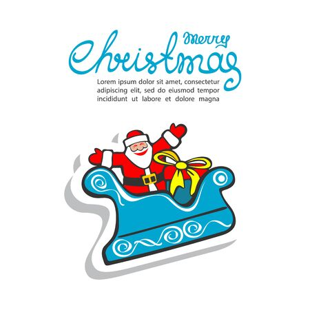 luge: Cartoon happy Santa Claus isolated on white background. Design element for greeting cards and flyers. Christmas character. Christmas lettering. Illustration