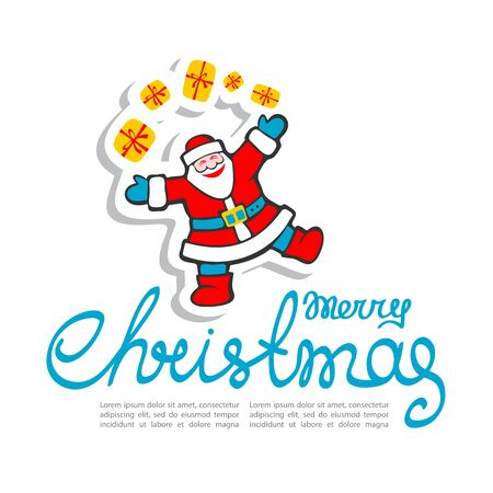 christmas element: Cartoon happy Santa Claus isolated on blue background. Design element for greeting cards and flyers. Christmas character. Christmas lettering.