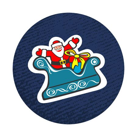 luge: Cartoon happy Santa Claus isolated on white background. Design element for greeting cards and flyers. Christmas character.