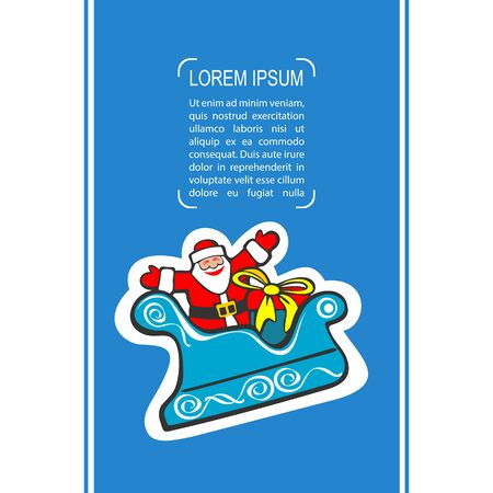 luge: Cartoon happy Santa Claus isolated on blue background. Design element for greeting cards and flyers. Christmas character. Illustration
