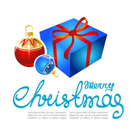 gift season: Gift box and Christmas balls isolated on white background. Design elements for greeting cards and flyers. Xmas vector illustration. Illustration