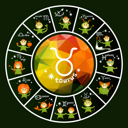 Zodiac signs vector set isolated on dark background. Cartoon funny characters. Design elements for flyers or banners.