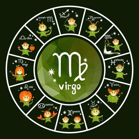 astrologie: Sternzeichen Vektor-Set auf grünem Hintergrund. Cartoon lustige Charaktere. Design-Elemente für Flyer oder Banner führen.